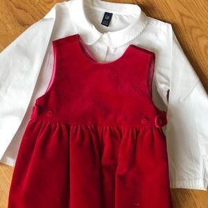 Girls Baby Gap Christmas Holiday Dress Set Sz 2 2T